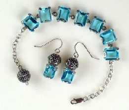Topaz Faceted Gemstone Bracelet with Earrings